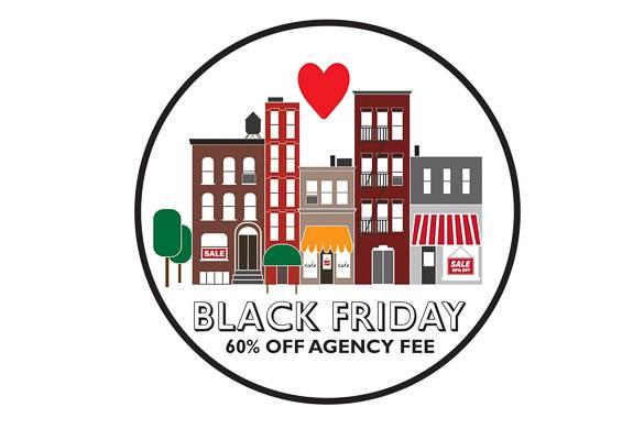 Bild von Gebäuden in NYC im Cartoonstil und einem Herz mit Werbung für die Black Friday Rabattaktion.