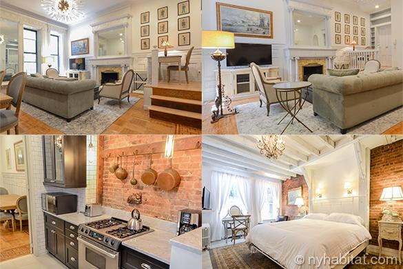 Collage von Bildern des Wohnzimmers und Schlafzimmers in NY-16898 mit Kronleuchtern, freiliegenden Steinwänden und Kamin.