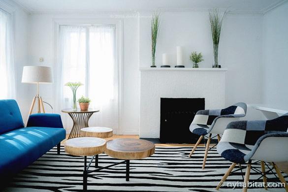 Bild des Wohnzimmers in NY-16869 mit einem zebra-gestreiften Teppich