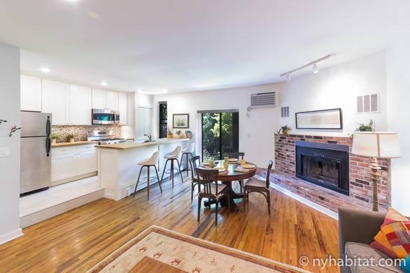 Bild des Wohnzimmers und der Küche von NY-15837 in Boerum Hill, Brooklyn