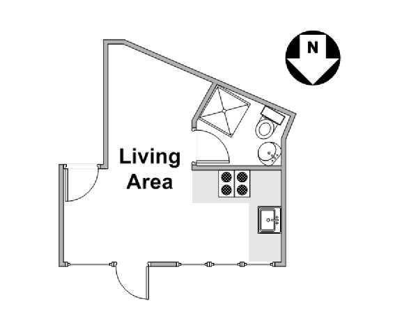 London Studio apartment - apartment layout  (LN-129)