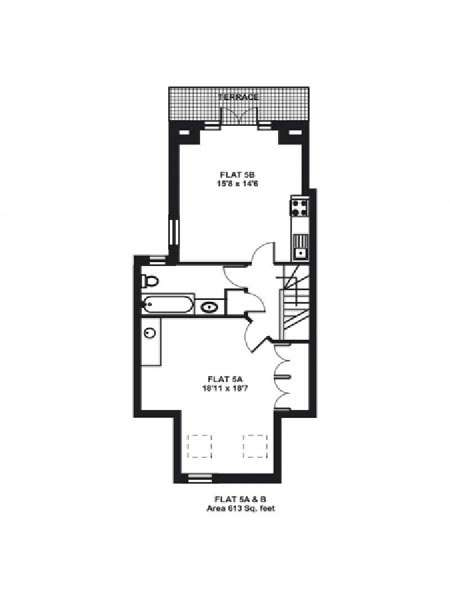 London 1 Bedroom accommodation - apartment layout  (LN-323)