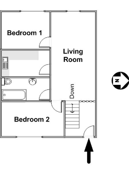 London 2 Bedroom apartment - apartment layout  (LN-423)