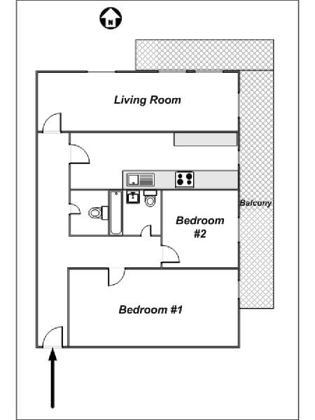 London 2 Bedroom accommodation - apartment layout  (LN-528)