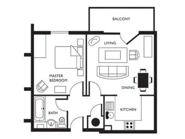 Londres T2 logement location appartement - plan schématique  (LN-623)