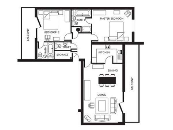 Londres T3 logement location appartement - plan schématique  (LN-625)