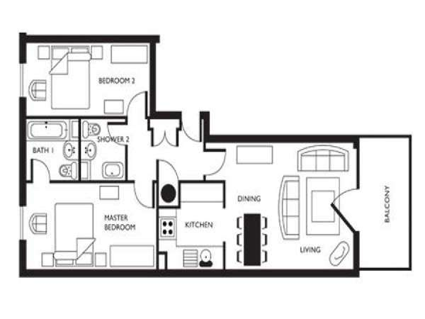 London 2 Bedroom apartment - apartment layout  (LN-626)