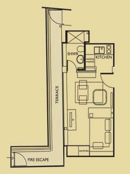 London Studio apartment - apartment layout  (LN-656)