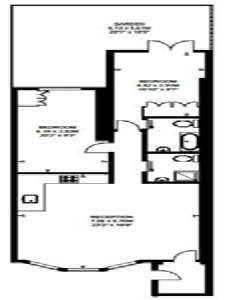 London 2 Bedroom accommodation - apartment layout  (LN-676)