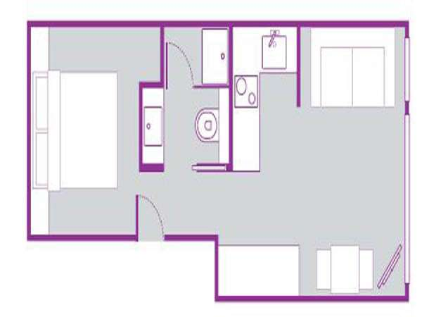 London Alcove Studio accommodation - apartment layout  (LN-695)