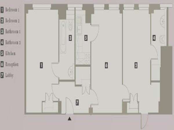 London 2 Bedroom apartment - apartment layout  (LN-702)