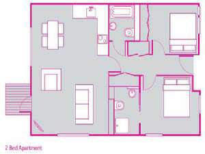 London 2 Bedroom accommodation - apartment layout  (LN-765)