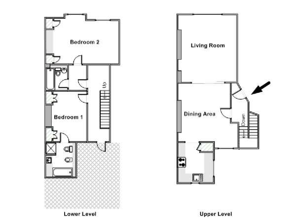 appartamento a londra - 2 camere da letto - mayfair (ln-803) - Piantina Camera Da Letto