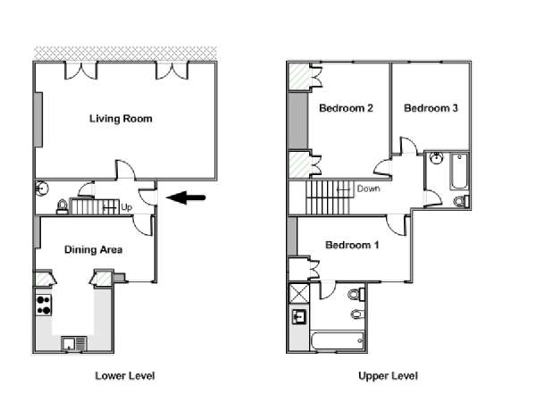 London accommodation 3 bedroom duplex apartment rental in for Duplex apartment plans