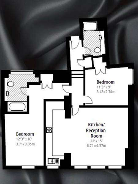 London 2 Bedroom accommodation - apartment layout  (LN-840)