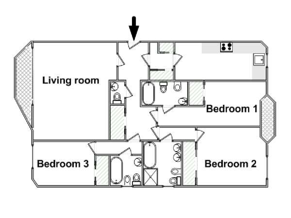 casa vacanza a londra - 3 camere da letto - south kensington (ln-853) - Piantina Camera Da Letto
