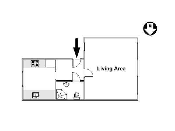 Londres Studio T1 appartement location vacances - plan schématique  (LN-931)