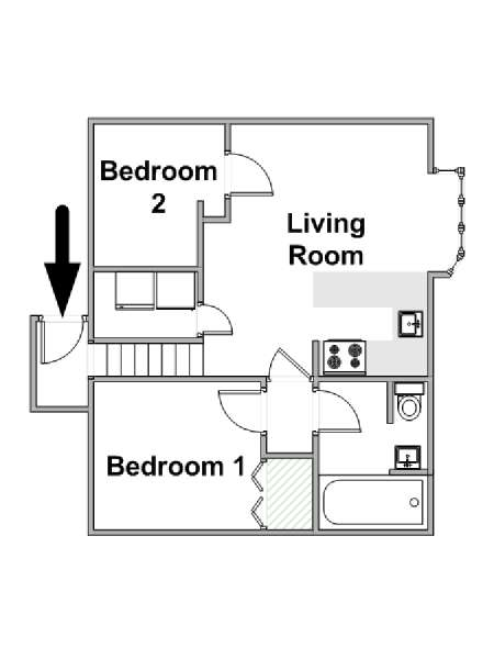 Londres T3 logement location appartement - plan schématique  (LN-973)