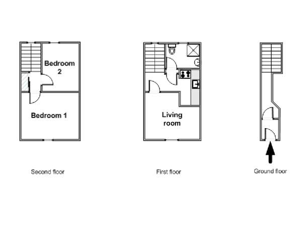 Londres T3 - Duplex appartement location vacances - plan schématique  (LN-1120)