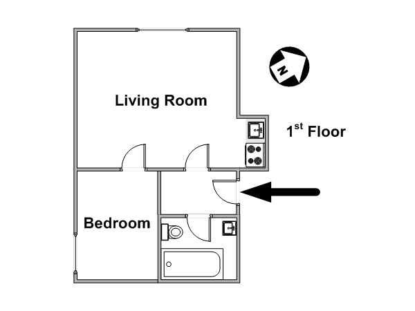 London 1 Bedroom apartment - apartment layout  (LN-1161)