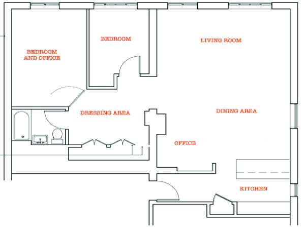 New York 2 Bedroom - Penthouse apartment - apartment layout  (NY-11250)