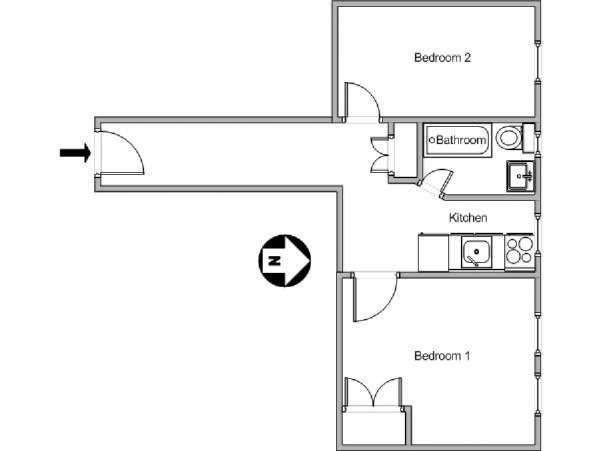 New York 2 Bedroom apartment - apartment layout  (NY-11263)