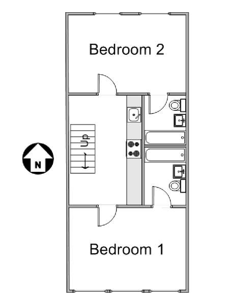 New York 2 Bedroom accommodation bed breakfast - apartment layout  (NY-11527)