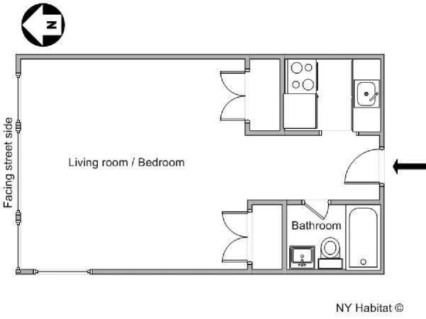 Studio Apartment Floor Plans New York new york apartment: studio apartment rental in midtown west (ny-11944)