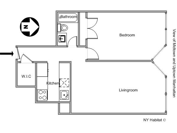 New York T2 logement location appartement - plan schématique  (NY-11945)