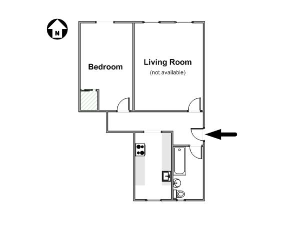 New York 1 Bedroom accommodation bed breakfast - apartment layout  (NY-12474)