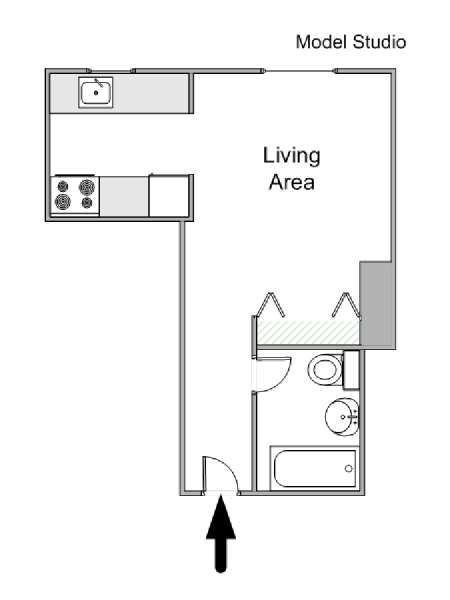 New York Studio T1 logement location appartement - plan schématique  (NY-12543)