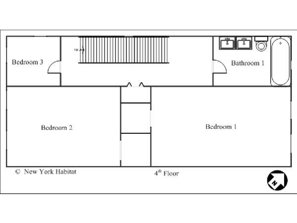 New York 3 Bedroom - Duplex accommodation - apartment layout 1 (NY-12670)
