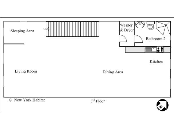 New York 3 Bedroom - Duplex accommodation - apartment layout 2 (NY-12670)