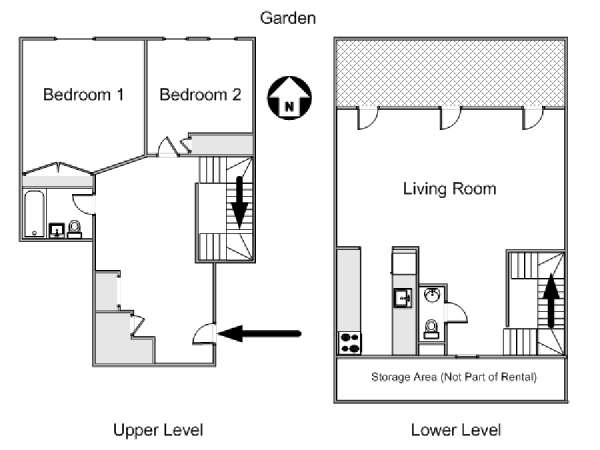 New York 2 Bedroom - Duplex apartment - apartment layout 1 (NY-12811)