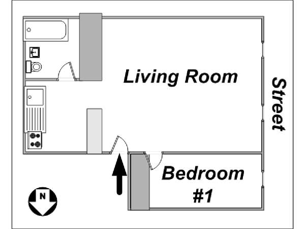 New York T2 logement location appartement - plan schématique  (NY-12830)