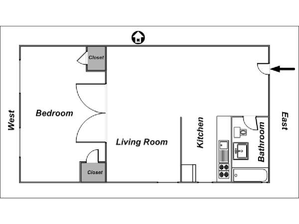 New York 1 Bedroom apartment - apartment layout  (NY-12864)
