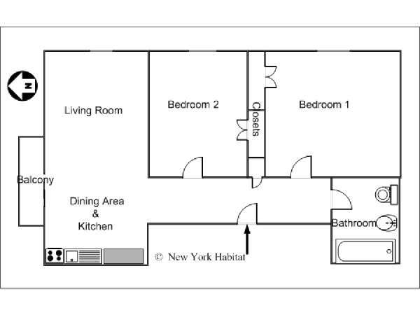 New York 2 Bedroom apartment - apartment layout  (NY-12870)