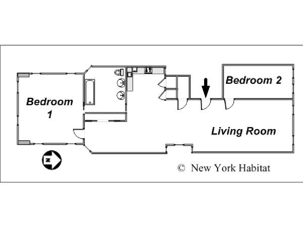 New York 2 Bedroom apartment - apartment layout  (NY-12975)