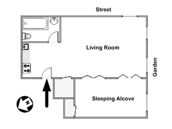 New York 1 Bedroom apartment - apartment layout  (NY-14062)