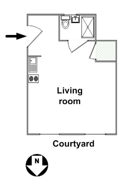 New York Studio accommodation - apartment layout  (NY-14118)