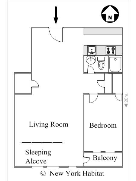 New York T2 appartement colocation - plan schématique  (NY-14144)