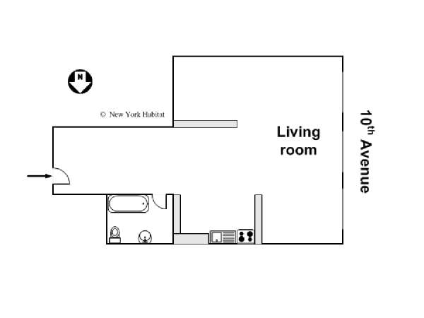 New York Studio T1 - Loft logement location appartement - plan schématique  (NY-14253)