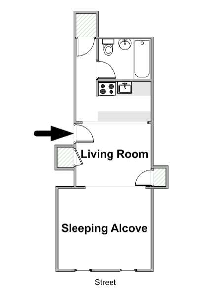 Studio Apartment Floor Plans New York new york apartment: alcove studio apartment rental in upper east