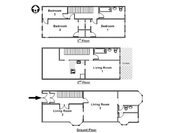 New York 3 Bedroom - Triplex accommodation - apartment layout  (NY-14369)