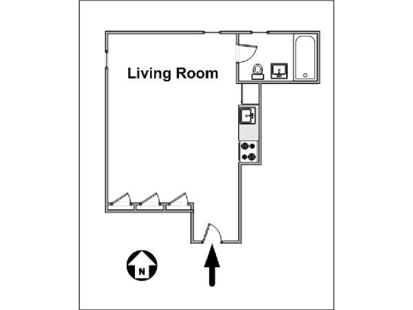 New York Studio apartment - apartment layout  (NY-14374)