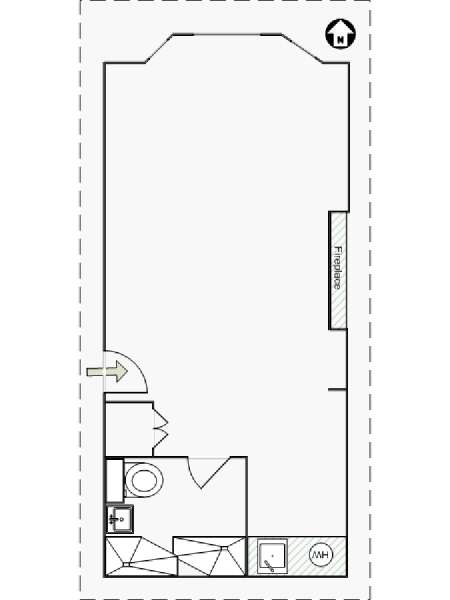 New York Studio T1 logement location appartement - plan schématique  (NY-14426)