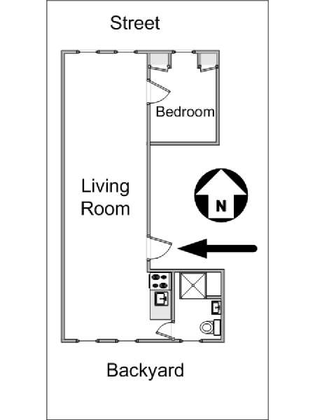 New York 1 Bedroom apartment - apartment layout  (NY-14442)