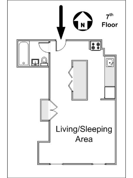 New York Studio apartment - apartment layout  (NY-14470)