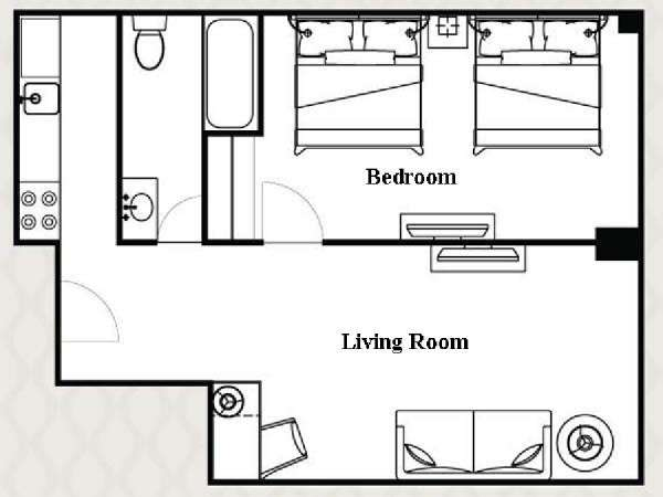New York T2 logement location appartement - plan schématique  (NY-14505)