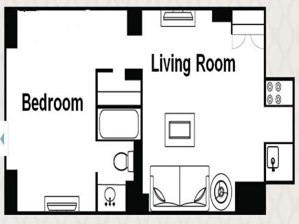 New York 1 Bedroom accommodation - apartment layout  (NY-14517)